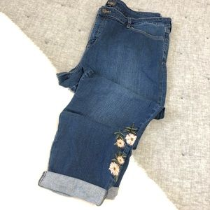 NYDJ Alina ankle pink floral embroidered jeans 22